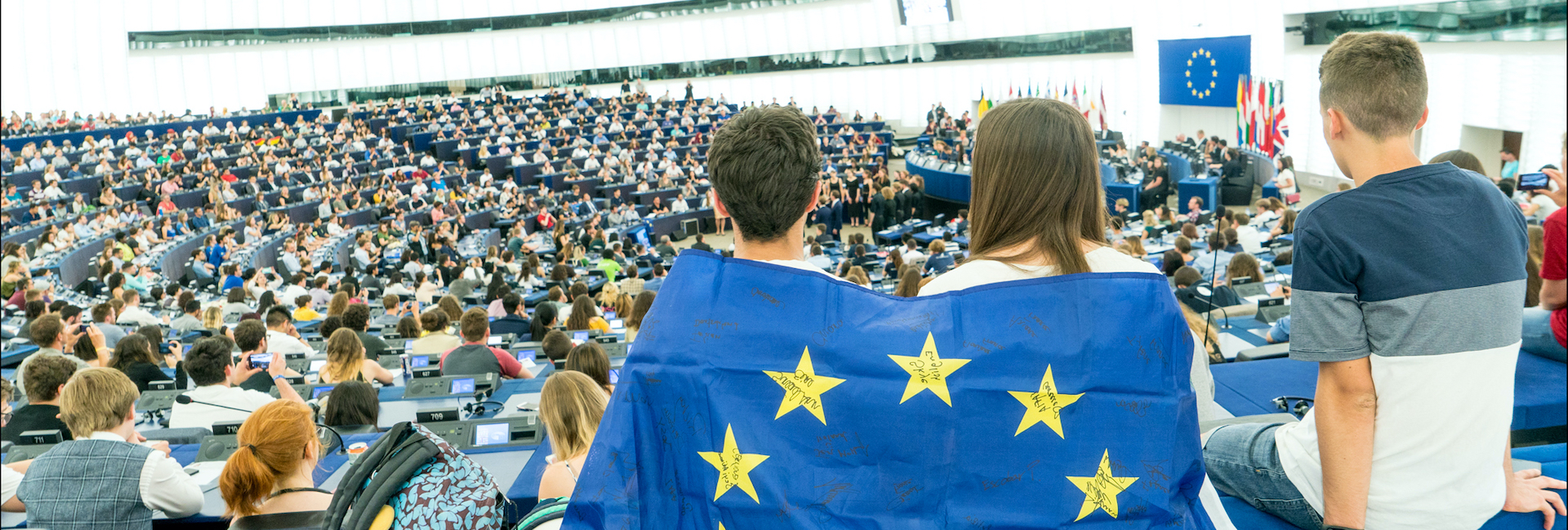 Youth in the Hemycicle with EU flag